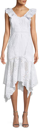 Jonathan Simkhai Embroidered Ruffle-Sleeve Cutout Dress