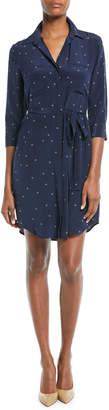 L'Agence Stella Long-Sleeve Star-Print Silk Shirtdress