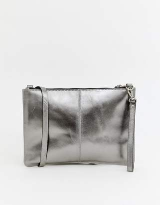 Warehouse leather crossbody bag in pewter