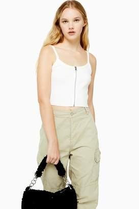 Topshop White Zip Front Vest