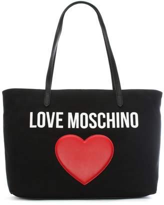 bad53e73d0 Love Moschino Catherine Black Canvas Logo Heart Shopper