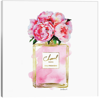 icanvasart Perfume Bottle With Pink Peonies Print Canvas Wall Art