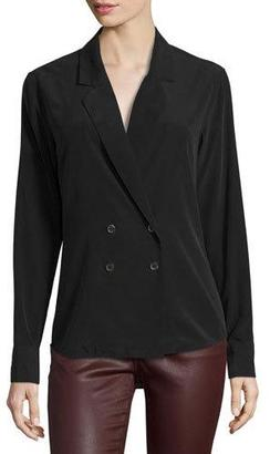 AG Brooks Double-Breasted Silk Shirt $298 thestylecure.com