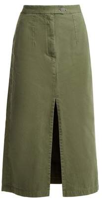 Masscob Front-split cotton mid-length skirt