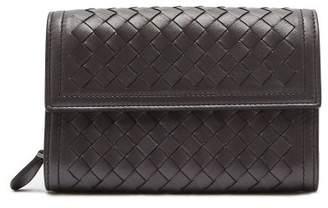 Bottega Veneta Intrecciato Continental Leather Wallet - Womens - Silver