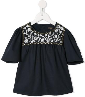 Velveteen Asha embroidered peasant blouse