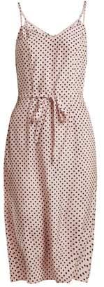 Hvn - Lily Polka Dot Print Silk Slip Dress - Womens - Light Pink