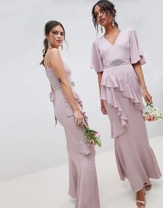 Asos Design DESIGN Ruffle Flutter Sleeve Maxi Dress With Embellished Belt