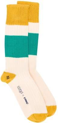 YMC block stripe socks
