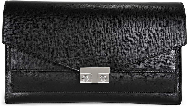 Tory Burch Open Box T-Lock Saffiano Leather Clutch - Black - ONE COLOR - STYLE