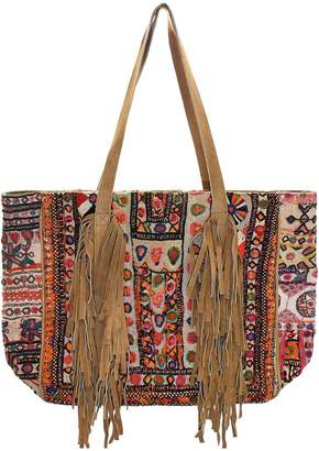 Vintage Addiction Fringed Vintage Fabric & Suede Oversized Tote