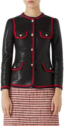 Gucci Ribbon Trim Nappa Leather Jacket