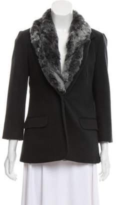 Elizabeth and James Fur-Trimmed Button-Up Blazer Black Fur-Trimmed Button-Up Blazer