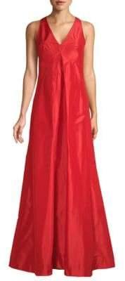 Oscar de la Renta Sleeveless V-Neck Silk Gown