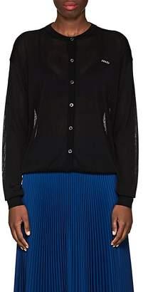 Prada Women's Logo Semi-Sheer Cardigan
