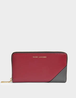 Marc Jacobs Saffiano Standard Continental Wallet in Deep Maroon Split Cow Leather