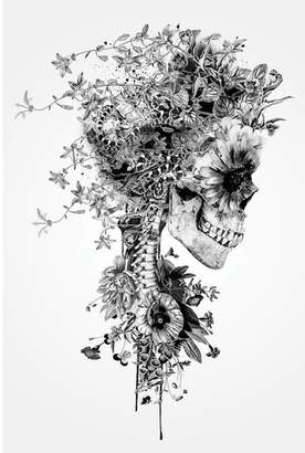 East Urban Home 'Floral Skull Series: Skull B&W' Graphic Art Print on Canvas
