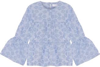 Co - Tiered Striped Cloqué Top - Light blue $525 thestylecure.com