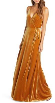 Jenny Yoo Andi Velvet Wrap Evening Gown