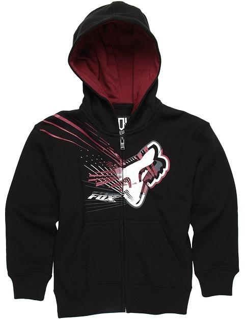 Fox Spillage Zip Front Fleece Hoodie (Little Kids) (Black) - Apparel