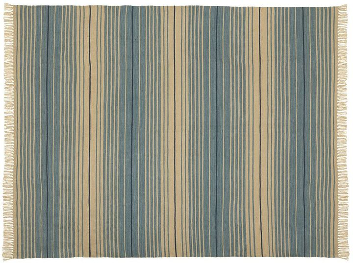 Pottery Barn Dennis Stripe Recycled Yarn Indoor/Outdoor Rug - Blue