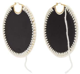 Loewe Macrame Hoop Earrings - Womens - Black