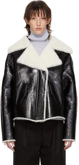 Black Patent Shearling Jacket