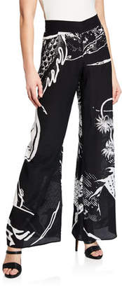 Balmain Dragon-Print Wide-Leg Silk Coverup Pants