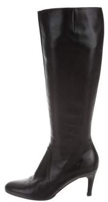 Salvatore Ferragamo Round-Toe Leather Knee-High Boots