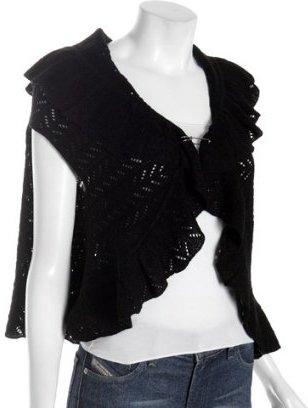 Tocca black silk-cashmere 'Sadie' crocheted cape