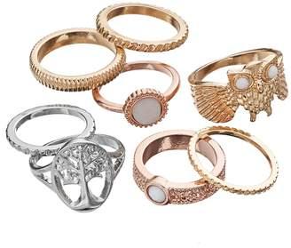 Mudd Owl & Tree of Life Textured Ring Set