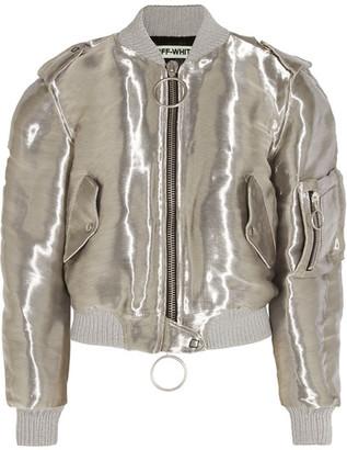 Off-White - Metallic Taffeta Bomber Jacket - Silver $2,425 thestylecure.com