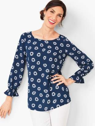 Talbots Feminine Sleeve Top - Daisy Print