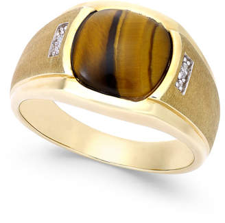 Macy's Men's Tiger Eye (10mm) and Diamond Accent Ring in 10k Gold