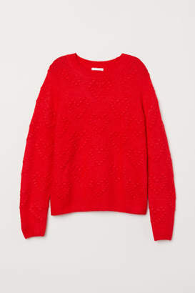 H&M Pattern-knit Sweater - Red