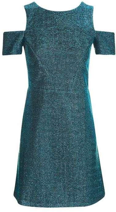 TopshopTopshop Cold shoulder tinsel a-line dress