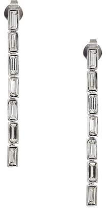 Kenneth Jay Lane Polished Silver Crystal Baguette Drop Pierced Earrings Earring