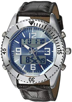 Viva Time Men's 'Timetech Analog Digital' Quartz Metal and Leather Sport Watch