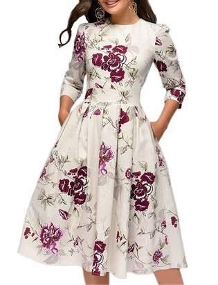Simple Flavor Women's Floral Vintage Dress Elegant Autumn Midi Evening Dress 3/4 Sleeves (,XXL)