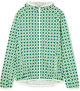 Tory Sport Hooded Floral-print Shell Jacket - Green