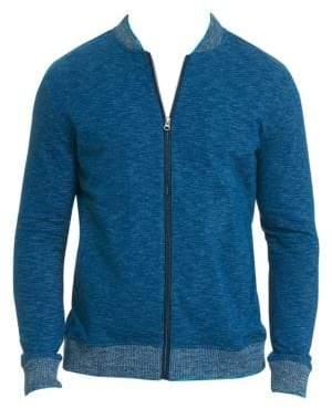 Robert Graham Men's Kaison Cotton Slub Zip-Front Knit - Navy - Size Large