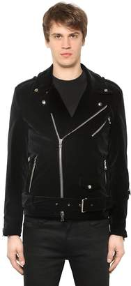 Slim Fit Velvet Biker Jacket