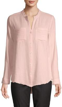 Pure Navy Fringed Patch Pocket Gauze Shirt