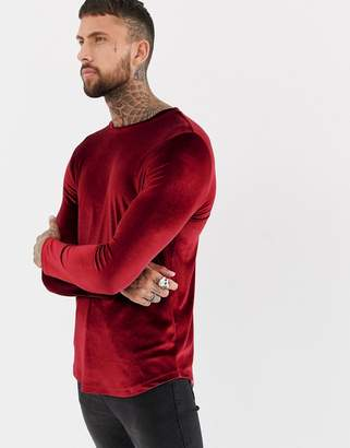 Asos Design DESIGN longline long sleeve t-shirt in velour with curved hem in oxblood