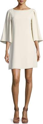 Halston 3/4-Sleeve Boat-Neck Short Cocktail Dress, Cream