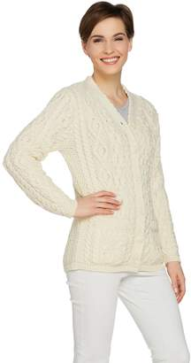 Aran Craft Merino Wool Traditional V-Neck Cardigan