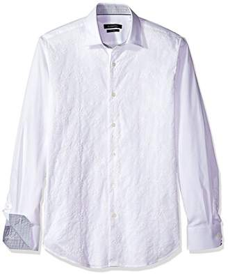 Bugatchi Men's Tailored Fit Solid Embroidered Long Sleeve Woven