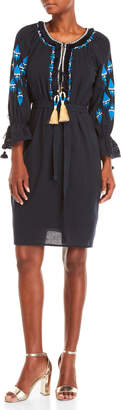 Figue Navy Melita Embroidered Tassel Dress