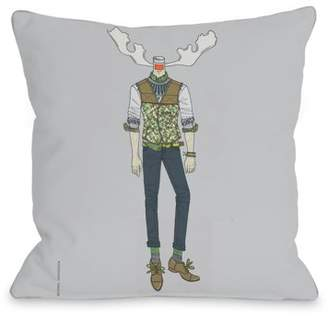 Sanderson Unbranded Antler Man - Gray Multi 18x18 Pillow by Michael