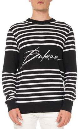 Balmain Men's Striped Cotton Sweatshirt